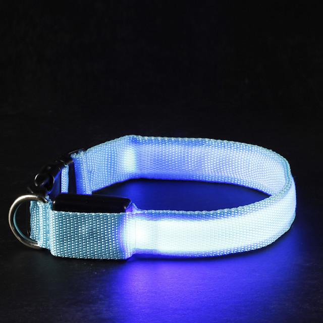 Pisici Câine Gulere Lumini LED Ajustabile / Retractabil Mată Nailon Alb Portocaliu Galben