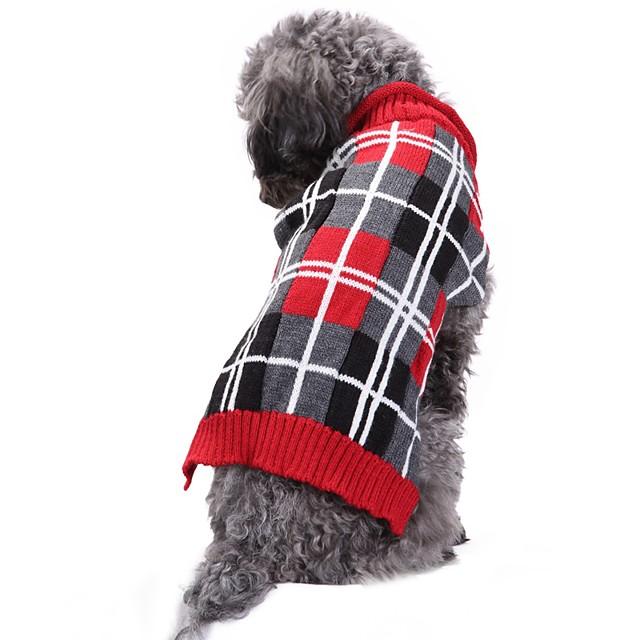 Kedi Köpek Paltolar Kazaklar Noel Kareli Geometrik İngiliz Günlük / Sade Sıcak Tutma Düğün Kış Köpek Giyimi Köpek Giysileri Köpek Kıyafetleri Gri Kostüm Kız ve Erkek Köpek için Spandex Linen&Pamuk