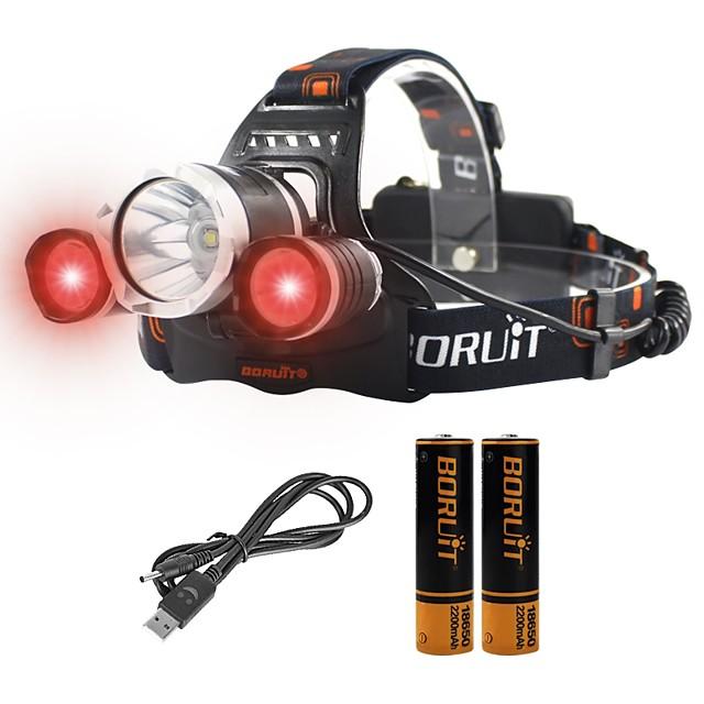 Boruit® RJ-3000 Otsalamput Ladattava 2400 lm LED LED 1 Emitters 4.0 valaistustila Akuilla ja laturilla Zoomable Ladattava Ammattilais Säädettävä Telttailu / Retkely / Luolailu Päivittäiskäyttöön