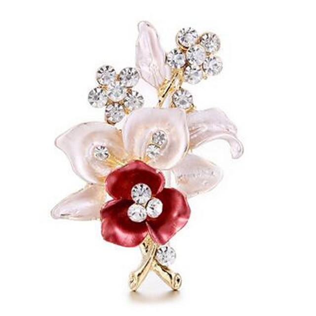 نسائي دبابيس وردة كلاسيكي تقليد الماس بروش مجوهرات ذهبي من أجل هدية مناسب للبس اليومي