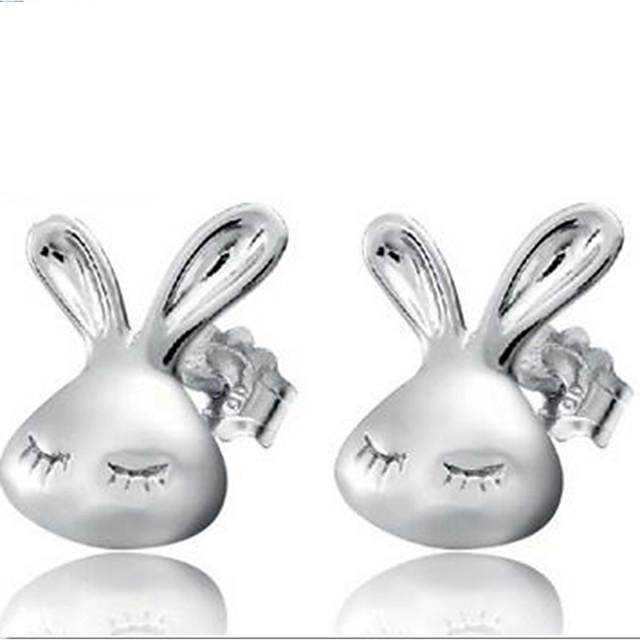 Femme Boucles d'oreille Clou Rabbit Animal simple Doux Plaqué argent Des boucles d'oreilles Bijoux Argent Pour Quotidien 2pcs