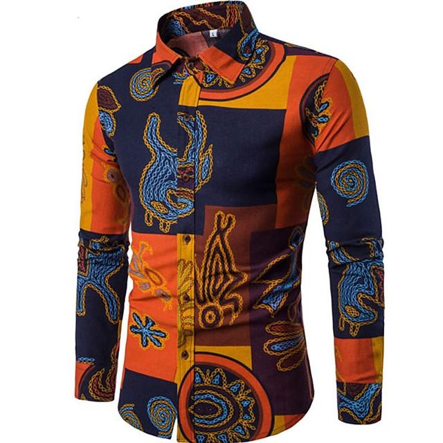 Men's Shirt Tribal Print Long Sleeve Going out Tops Vintage Boho Black