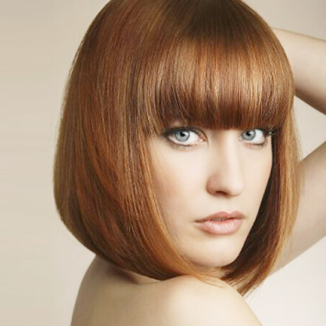 Synthetic Wig Straight Straight Bob With Bangs Wig Medium Length Light Brown Synthetic Hair Women's With Bangs Brown