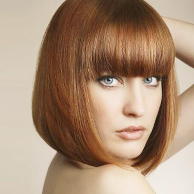 Synteettiset peruukit Suora Suora Bob-leikkaus Otsatukalla Peruukki Keskikokoinen Vaalean ruskea Synteettiset hiukset Naisten Bangsin kanssa Ruskea