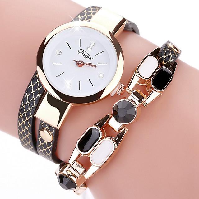 Damen Armbanduhren für den Alltag Modeuhr Uhr wickeln Quartz Elegant Chronograph Analog Weiß Schwarz Rot / Ein Jahr / Edelstahl / Leder / Ein Jahr