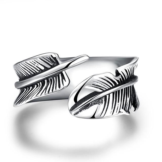 manşetă Ring Artizan Argintiu Teak Oțel Pană Vintage 1 8 9 10 11 / Bărbați