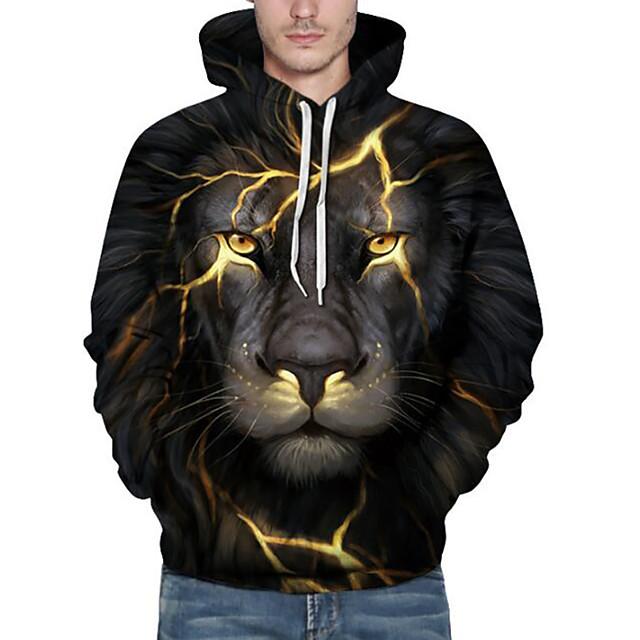 남성용 플러스 사이즈 까마귀 스웨터 3D 사자 동물 프린트 후디 캐쥬얼 / 데일리 주말 활동적 후드 스웨트 셔츠 긴 소매 루즈핏 블랙 / 가을 / 겨울