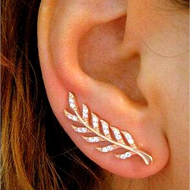 Pentru femei Zirconiu Cubic Cercei Stud Cățărătorii de urechi Căști de cățărare Leaf Shape femei Simplu Vintage Modă Elegant Bling bling cercei Bijuterii Roz auriu / Auriu / Argintiu Pentru Nunt