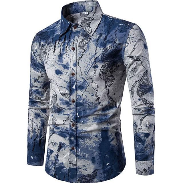 Herre Skjorte Abstrakt Trykt mønster Langermet Ut på byen Topper Chinoiserie Blå