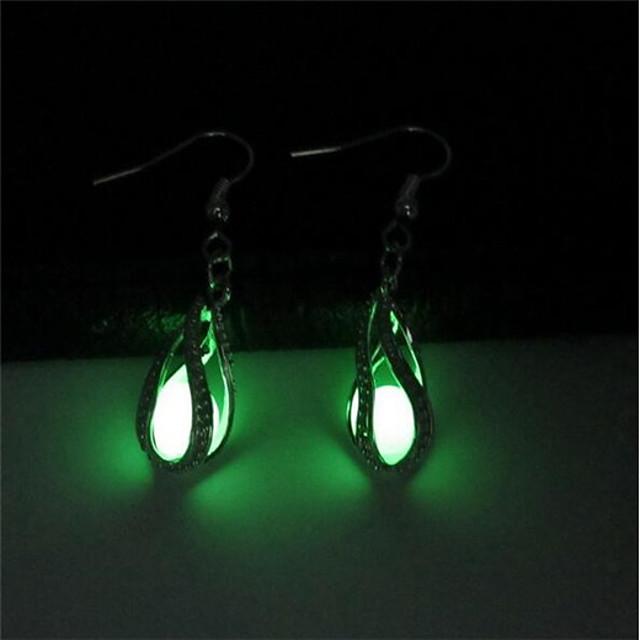 בגדי ריקוד נשים עגילי טיפה טיפה נשים אופנתי זורח עגילים תכשיטים ירוק בהיר עבור מועדונים בר 2pcs