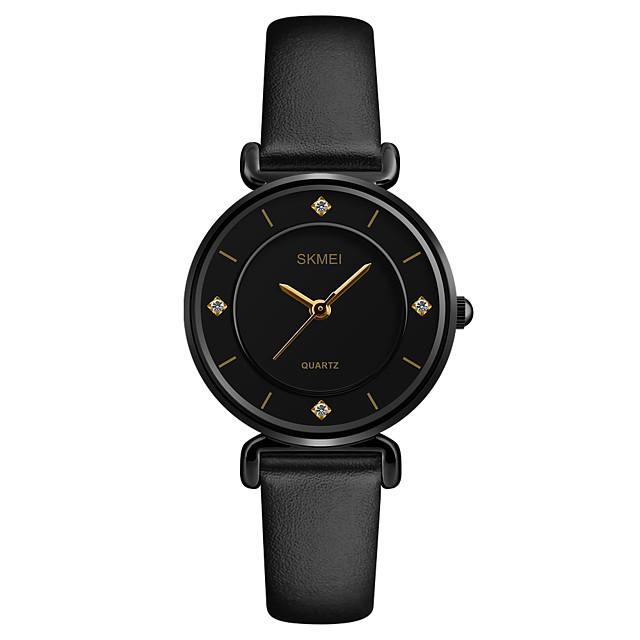 SKMEI Dámské Náramkové hodinky Křemenný dámy Voděodolné Analogové Bílá Černá / Jeden rok / Kůže / japonština / imitace Diamond / japonština