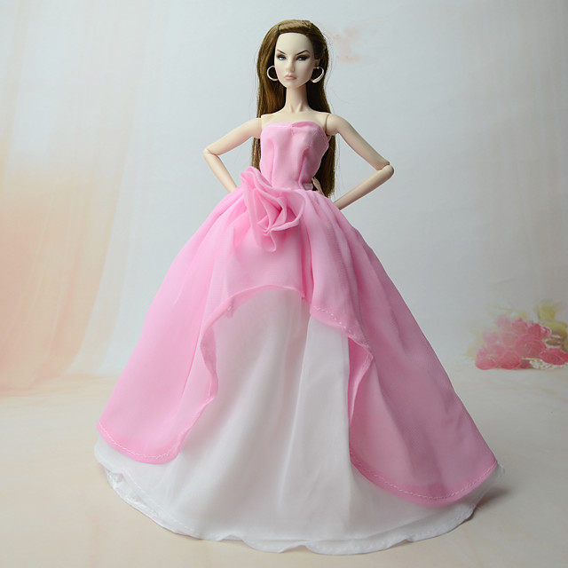 Doll Dress Set 4 Silver Pink Maxi Dress Cocktail Dresses for 11.5 inches Doll