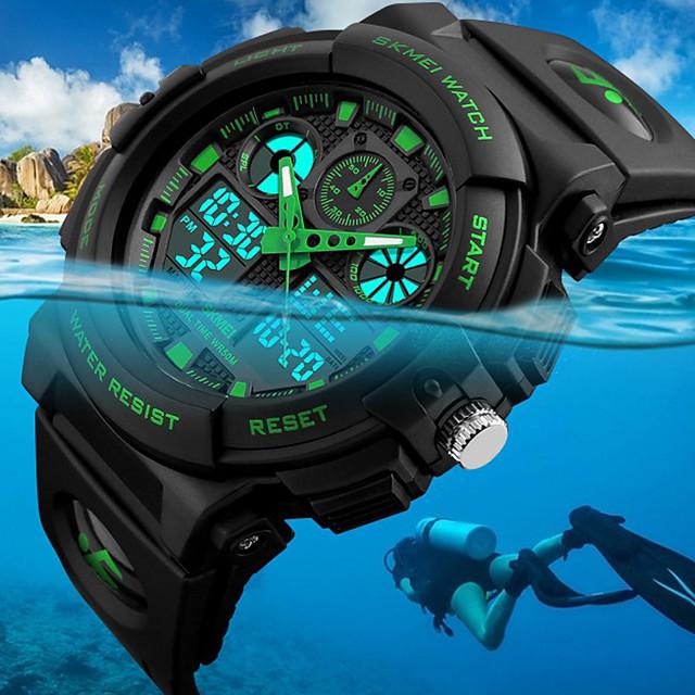 SKMEI Bărbați Ceas de Mână Ceas digital Vânătoare Watch Quartz Modă Rezistent la Apă Analog - Digital Negru Rosu Albastru / Doi ani / Piele PU Matlasată / Japoneză / Alarmă / Calendar