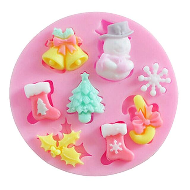 Silicon Crăciun Reparații Tort Biscuiți Plăcintă desen animat în formă coacere Mold Instrumente de coacere