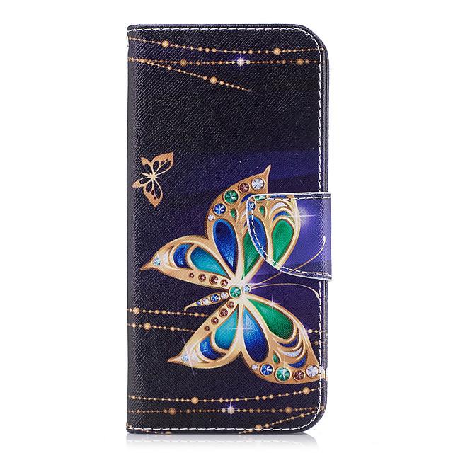 מגן עבור Samsung Galaxy S9 / S9 Plus / S8 Plus ארנק / מחזיק כרטיסים / עם מעמד כיסוי מלא פרפר קשיח עור PU