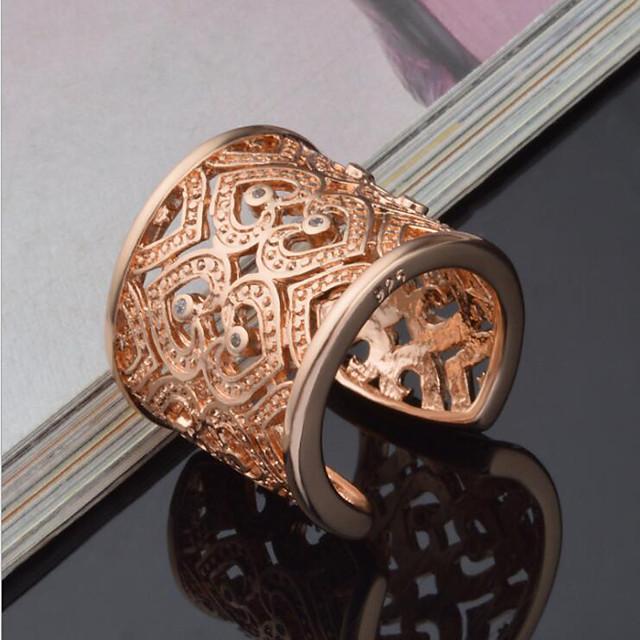 Pentru femei Inel de declarație manşetă Ring degetul mare 1 buc Auriu Argintiu Plastic Ștras femei Lux Design Unic Nuntă Petrecere Bijuterii Inimă Iubire