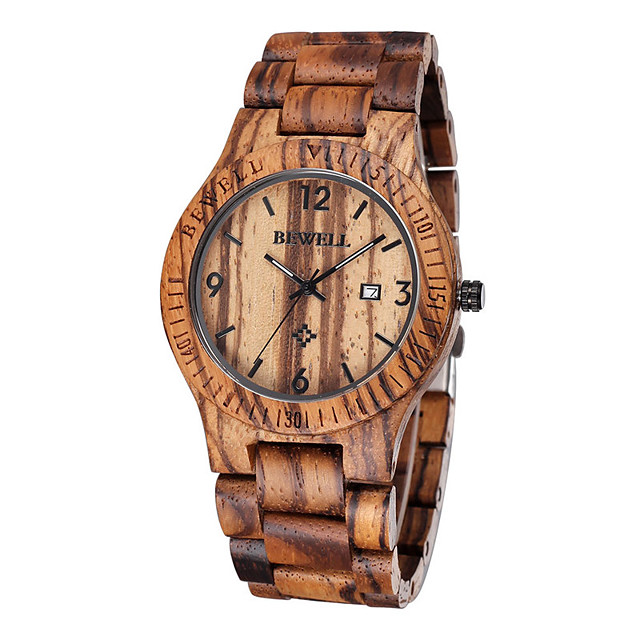 Men's Wrist Watch Unique Creative Watch Wood Watch Quartz Luxury Water Resistant / Waterproof Analog Brown / Two Years / Japanese / Calendar / date / day / Japanese / Two Years