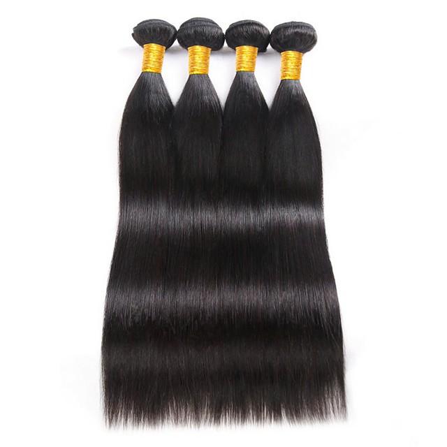 4 Paket Saç Örgüleri Düz Brezilya Saçı Düz İnsan Saç Uzantıları Gerçek Saç İnsan saç örgüleri 8-28 inç / 8A
