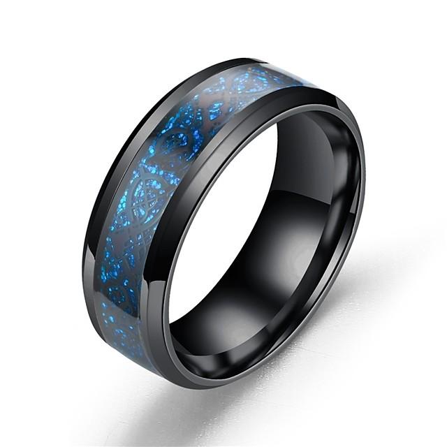 Band Ring Albastru-argintiu Auriu Argintiu închis Teak Oțel titan Balaur Magie Asiatic Vintage 7 8 9 10 11 / Bărbați
