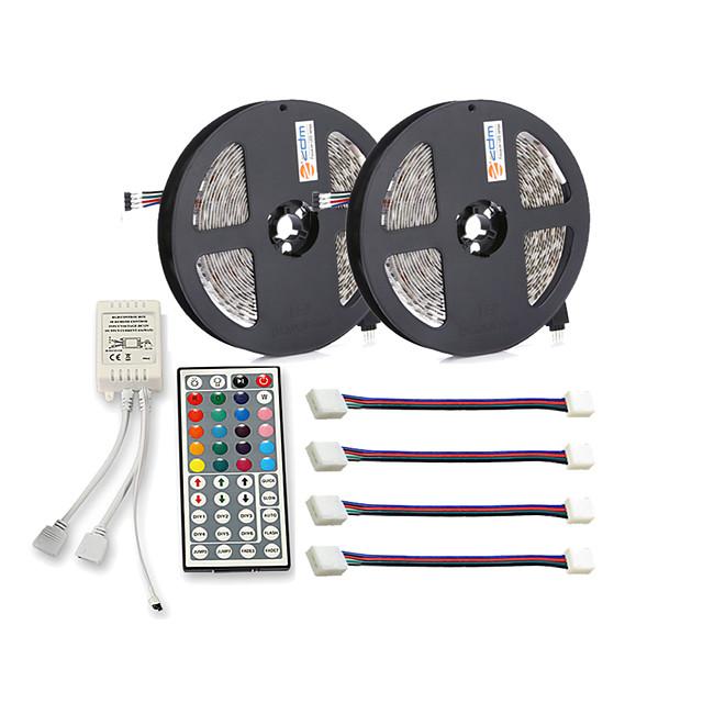 Zdm impermeabil 2x5m 30pcsmetri 5050 10mm rgb led band band 44key controler ir cu 4pcs rgb linie de conectare impermeabilă dc12v