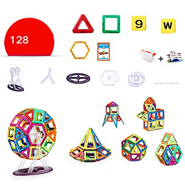 Magnetische blokken Magnetische tegels Bouwblokken Bouwstenen 128 pcs Architectuur Mensen Voertuigen transformable Ouder-kind interactie Hedendaagse Klassiek & Tijdloos Chic & Modern Speelgoed bouwen