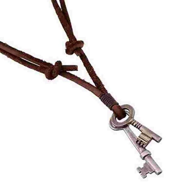 Муж. Ожерелья с подвесками длинное ожерелье Ключи Простой Кожа Сплав Коричневый Ожерелье Бижутерия Назначение Повседневные