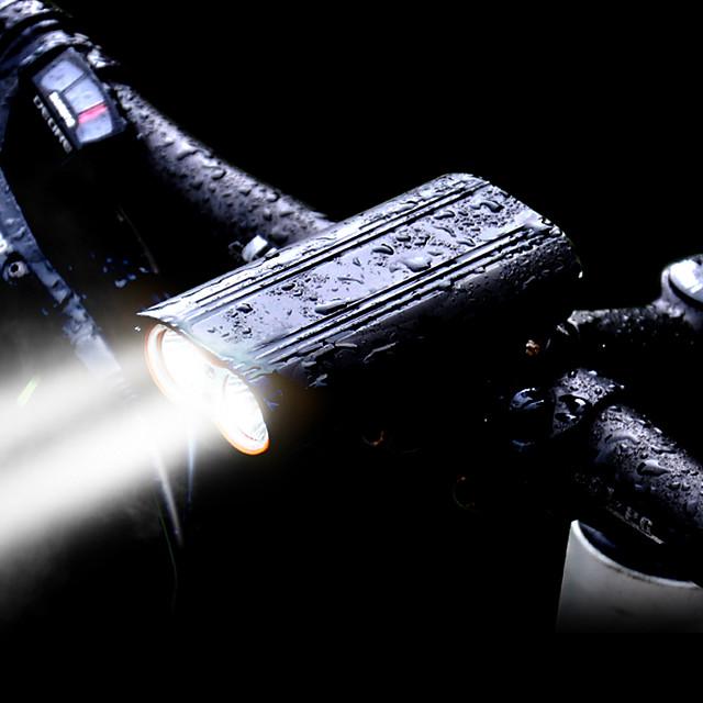 LED Eclairage de Velo Eclairage de Vélo Avant LED VTT Vélo tout terrain Vélo Cyclisme Imperméable Rotation à 360 ° Modes multiples Super brillant 2400 lm Rechargeable USB 18650 Blanc Cyclisme