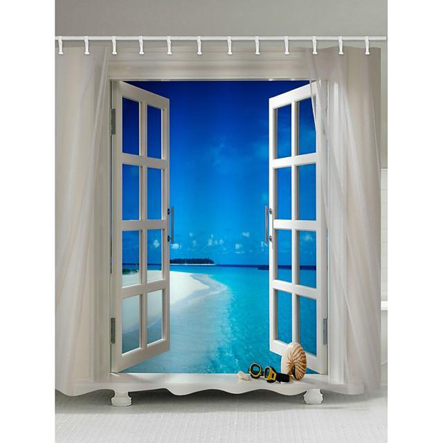 Rideaux de douche et anneaux Bleu contemporain Polyester Imperméable
