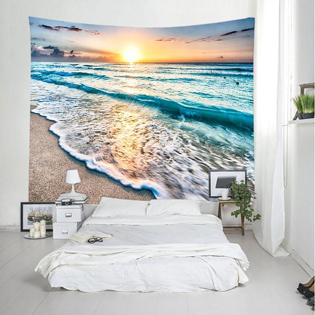 tapisserie murale art décor couverture rideau pique-nique nappe suspendu maison chambre salon dortoir décoration paysage plage mer océan vague sunrise sunrise