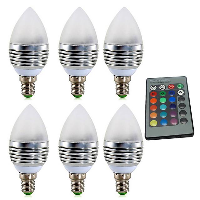 ywxlight® e14 3w rgb 4w 300-400lm led 16 αλλαγή χρώματος φως λαμπτήρα κερί λαμπτήρα ac85-265v 24 πλήκτρα IR τηλεχειριστήριο ac 85-265v