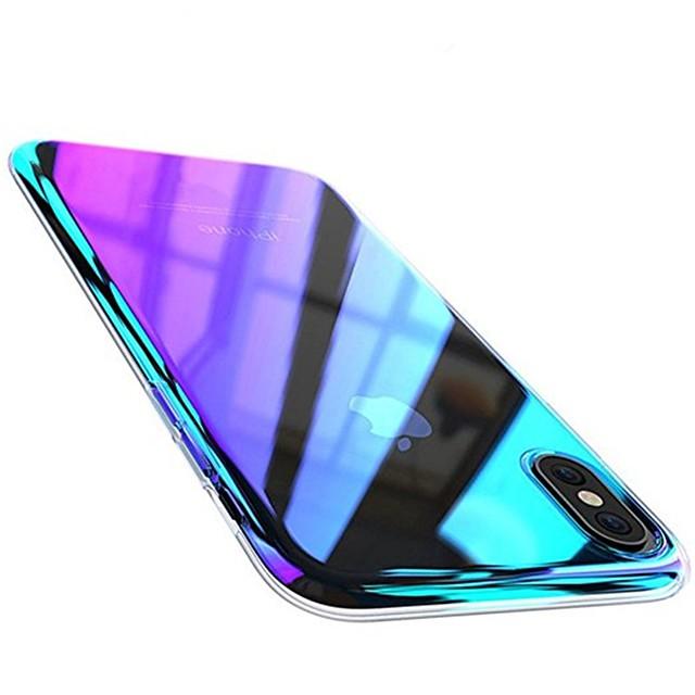 градиентный чехол для apple iphone x фиолетовый градиентный цветной чехол прозрачный чехол для мобильного телефона покрытие задней крышки цветной градиент жесткий чехол для ПК для iphone 8 plus / ipho