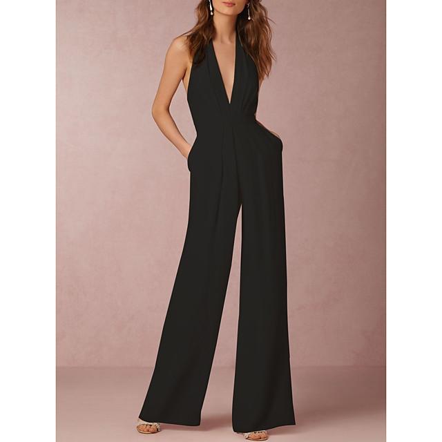 여성용 섹시 일상 와이드 레그 화이트 블랙 루비 점프 수트 솔리드 뒷면이 없는 스타일