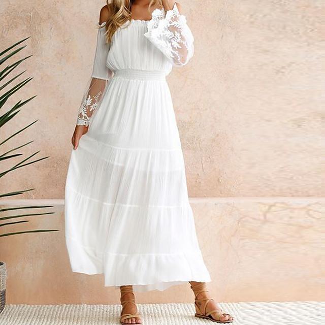 สำหรับผู้หญิง เดรสกระโปรงบาน แมกซี่เดรส ขาว แขนยาว ขาว สีพื้น ลูกไม้ ฤดูใบไม้ผลิ ฤดูร้อน ไหล่ตก ร้อน ไหล่ตก S M L XL