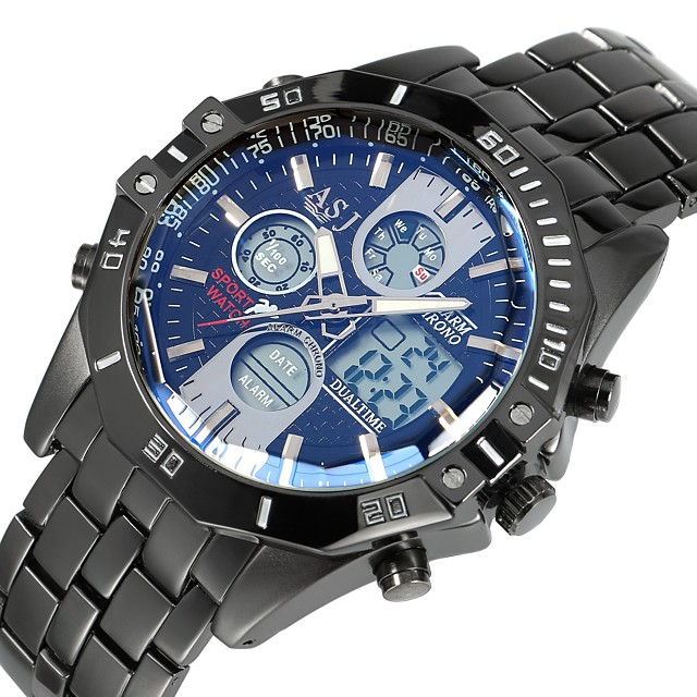 ASJ Bărbați Ceas Sport Ceas digital Aviation Watch Digital Lux Rezistent la Apă Analog - Digital Albastru Argintiu / Un an / Oțel inoxidabil / Oțel inoxidabil / Japoneză / Alarmă