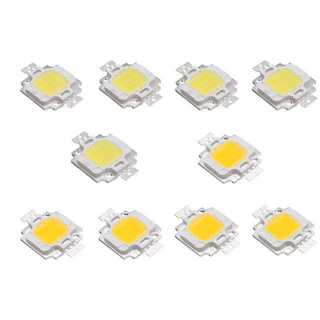 10pcs 10w mare luminos LED luminos cip lampă 9-12v alb cald alb