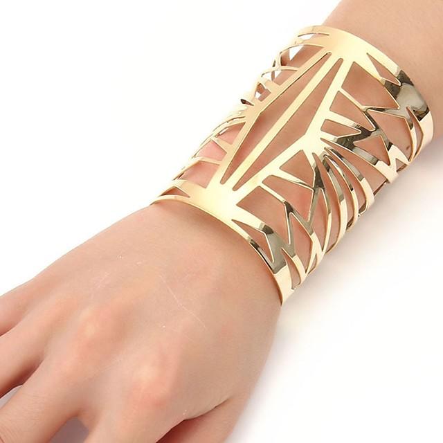 Bracelet Bracelets Manchettes Bracelets Femme Acier Inoxydable dames Mode énorme Bracelet Bijoux Dorée Argent Forme Géométrique pour Cérémonie Soirée