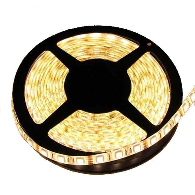 5m Fâșii De Becuri LEd Flexibile 300 LED-uri 5050 SMD 10mm Alb Cald Rezistent la apă Ce poate fi Tăiat De Legat 12 V / IP65 / Auto- Adeziv