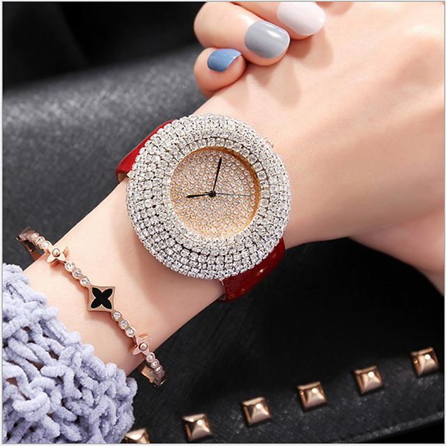 Dames Luxueuze horloges Pavé horloge Diamond Watch Kwarts Dames Vrijetijdshorloge Analoog Wit Zwart Rood / Echt leer / Echt leer