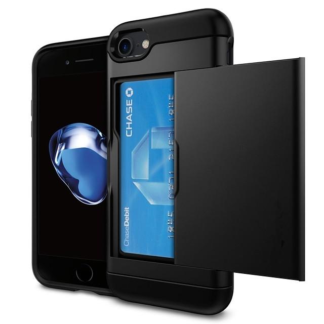 Кейс для Назначение Apple iPhone X / iPhone 8 Pluss / iPhone 8 Бумажник для карт Кейс на заднюю панель Однотонный Твердый ПК