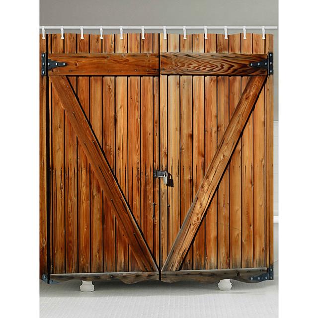 cortinas de ducha con ganchos puerta de madera rústica puerta de granero tela de poliéster cortina de ducha impermeable para baño