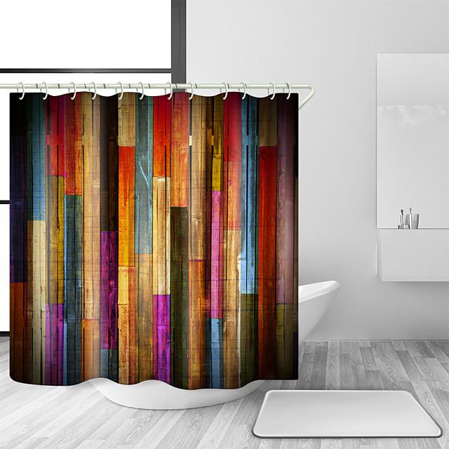 bruser gardiner med kroge farverigt træ træ kunst plank rustik retro træ vintage bruseforhæng vandtæt til badeværelset