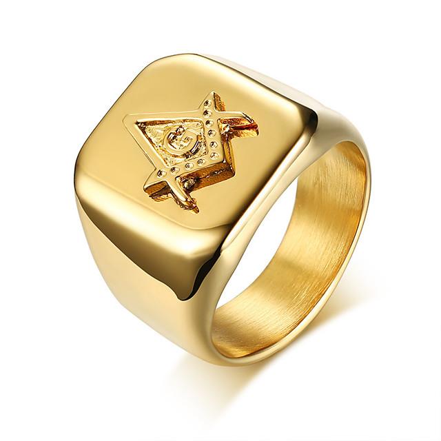 Muškarci Band Ring Zlato nehrđajući Geometric Shape Moda Vojni Dnevno Formalan Jewelry Geometrijski mason Cool