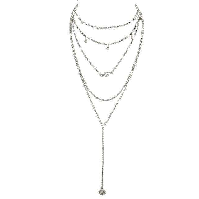 Collier Cravate Collier Multirang Collier multi-rang Femme dames Argent 37.5 cm Colliers Tendance Bijoux pour Fête / Soirée Ecole Forme de Cercle