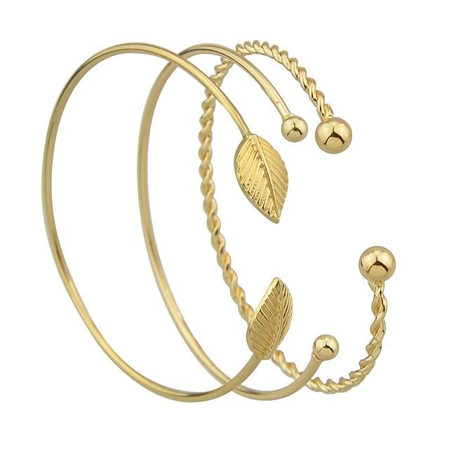 3pcs Manchettes Bracelets Parure Bracelet Femme Empiler Forme de Feuille dames Rétro Vintage Basique Bracelet Bijoux Dorée pour Rendez-vous Plein Air