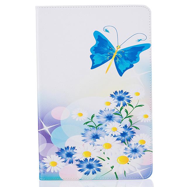 Coque Pour Samsung Galaxy Tab A 10.1 (2016) Portefeuille / Porte Carte / Avec Support Coque Intégrale Papillon Dur faux cuir