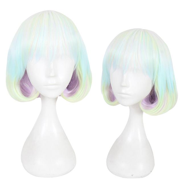 Perruque Synthétique Droit Coupe Dégradée Perruque Court Arc-en-ciel Cheveux Synthétiques Femme Ligne de Cheveux Naturelle Vert