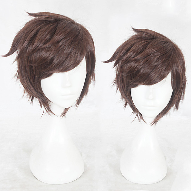 Synthetic Wig Straight Layered Haircut Wig Short Brown Synthetic Hair Men's Natural Hairline Brown