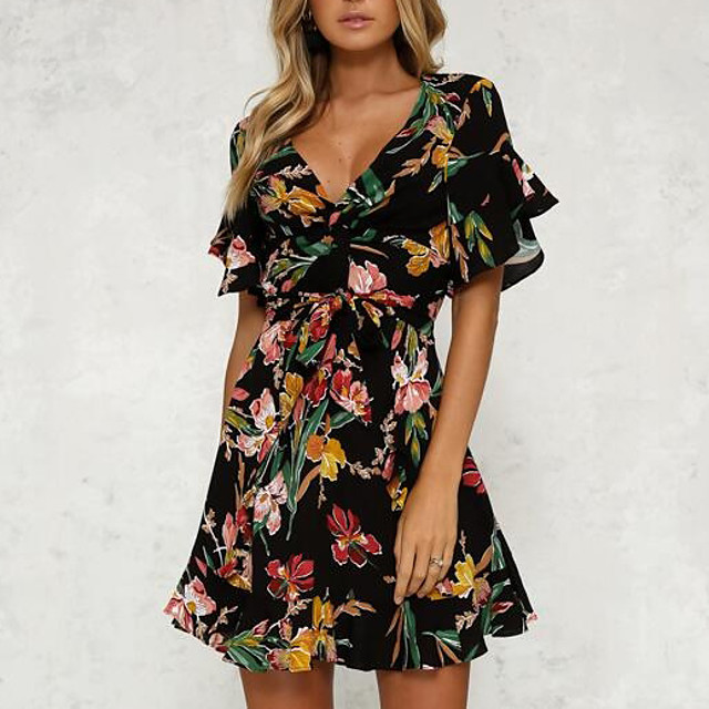 Dames Strakke jurk Mini-jurk Zwart Korte mouw Zwart Bloemen Opdruk Zomer  V-hals Flare manchet mouw Slank Bloemen S M L XL XXL / Hoge taille / Sexy  6609450 2021 – €17.59