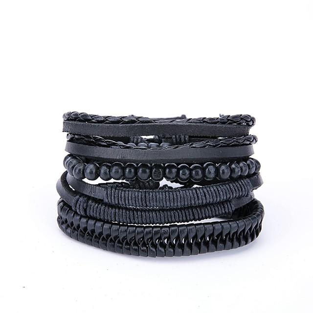 4PCS رجالي أساور التفاف أوروبي جلد مجوهرات سوار أسود من أجل هدية مناسب للبس اليومي