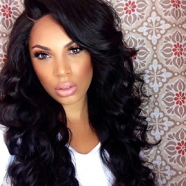 Sentetik Peruklar Su Vanası Kardashian Su Dalgası Peruk Uzun Siyah Sentetik Saç Kadın's Siyah OUO Hair
